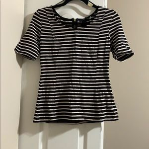 2/$25 HM Striped Peplum Top with Zippered Back